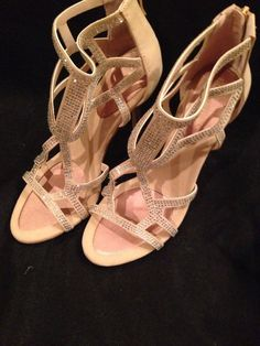 New BCBG Tan Gold Bling Jeweled Dressy Strappy High Heel Sandals Sz 8 5 | eBay