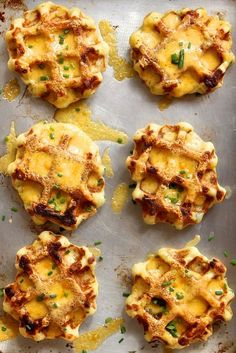 Mashed potato, cheddar and chive waffles sound savory and delicious.