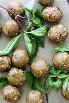 Simple 4 ingredient raw energy balls pairing basil and peanut butter. Grab these oil free, gluten free, refined sugar free treats for healthy snacking. Peanut Butter Snacks, Peanut Butter Roll, Vegan Gluten Free, Vegan Vegetarian, Sugar Free Treats, Raw Energy, Sunday Meal Prep, Bliss Balls, 4 Ingredients