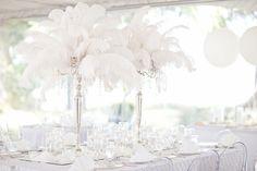 wedding decor - white feather centerpieces by Asmodel Wedding Table, Diy Wedding, Dream Wedding, Wedding Ideas, Wedding Details, Wedding Gowns, Ostrich Feather Centerpieces, Wedding Decorations, Table Decorations