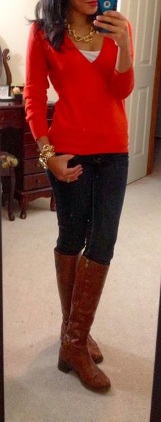 Fall Work Outfit With Long Boots,Jeans and Red Sweater
