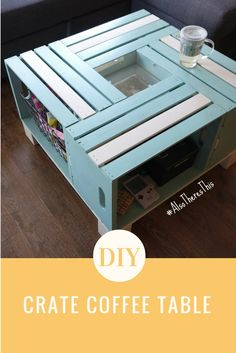 DIY crate coffee table - tons of storage and easy to make! TUTORIAL HERE