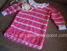 My Fancywork Blog: Детская ажурная туника ярко-розового цвета с двойн...