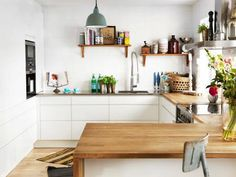 U Shaped Kitchen With White Cabinets And Butcher Block Countertops : Pros And Cons Of Kitchen Butcher Block Countertops Kitchen Benches, Wooden Kitchen, New Kitchen, Kitchen Dining, Kitchen Decor, Swedish Kitchen, Cosy Kitchen, Minimal Kitchen, Eclectic Kitchen