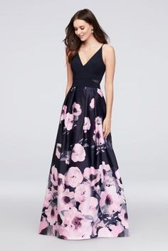 Pretty poppies bloom on the flowing satin skirt of this stretch-jersey-bodice ball gown. A plunging V-neck, mesh cutouts at the sides, and side pockets are extra-special touches.  By Xscape  Polyester