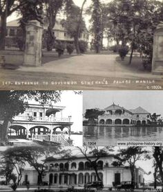 Old photographs of Malacanan Palace in Manaila, the official residence of the president of the Philippines. Circa late to early The Spanish American War, American History, Manila, Philippine Architecture, Treaty Of Paris, President Of The Philippines, Philippines Culture, Historical Pictures, Philippines