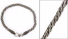 "New Twist Bali Braid 8"" 3mm 925 Sterling Silver Men's Chain Bracelet Black #Handmade #Chain"