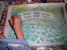 Monet's bridge (white oil pastel for bridge, then watercolor and thicker paints for the rest -- good step-by-step instructions)