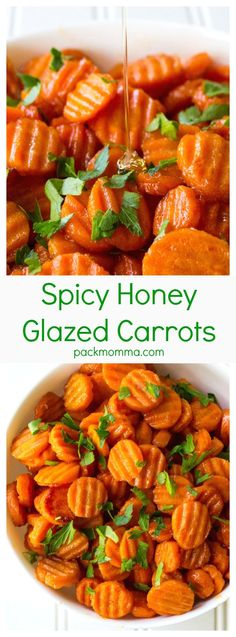 Spicy Honey Glazed Carrots | Spicy Honey Glazed Carrots are sweet with just a hint of spicy and they make the perfect accompaniment to any meal. Talk about the perfect side dish! | Pack Momma | https://www.packmomma.com