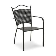 Glimminge är en caféstol i svartlackad metall med smideslook. Det finns tre passande bord i samma serie, ett marmorbord och två smidesbord i olika storleka