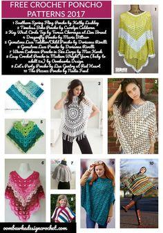 20 Free Crochet Poncho Patterns https://oombawkadesigncrochet.com/2017/04/20-free-crochet-poncho-patterns.html