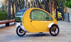 Today Evovelo unveiled a tiny solar-powered vehicle that combines the advantages of a car — such as safety, weather protection and stability — with the ease of a bicycle and the low energy consumption and space utilization of a light electric vehicle. Barrel Dog Bed, Concentrated Solar Power, Solar Powered Cars, Electric Cars, Electric Vehicle, Electric Tricycle, Solar Car, Solar Projects, Cars