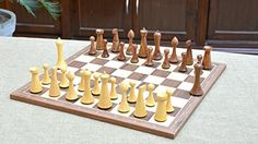 Combo of Minimalist Hermann Ohme Chess Pieces in Sheesham  Box Wood  Walnut Maple Wooden Chess Board With Notation  374 King ** Be sure to check out this awesome product.