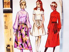 1970s Dress Pattern Misses size 12 McCalls Pattern Womens Mini or Mid Calf Dress Roll Collar