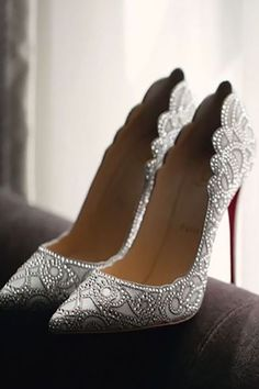 Christian Louboutin OFF!>> 24 Gorgeous Bridal Shoes For Stunning Brides ❤ See more: www. Cute Shoes, Me Too Shoes, Trendy Shoes, Crazy Shoes, Wedding Heels, White Wedding Shoes, Sparkle Wedding Shoes, Silver Bridal Shoes, Wedding Sneakers