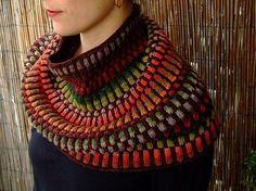 Inspira Cowl by graphica. malabrigo Sock, Cordovan colorway and Noro yarn.