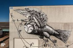 London Street Artist Phlegm's Mural in Ostend, Belgium painted as part of The Crystal Ship festival. Photo ©Hookedblog
