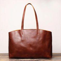 Vintage Mens Womens Leather Large Brown Tote Handbag Shoulder Tote Purse Tote Messenger Bag For Men Tote Purse, Tote Handbags, Tote Bags, Tote Bag With Pockets, Leather Crossbody Bag, Leather Bags, Leather Totes, Work Tote, Messenger Bag Men