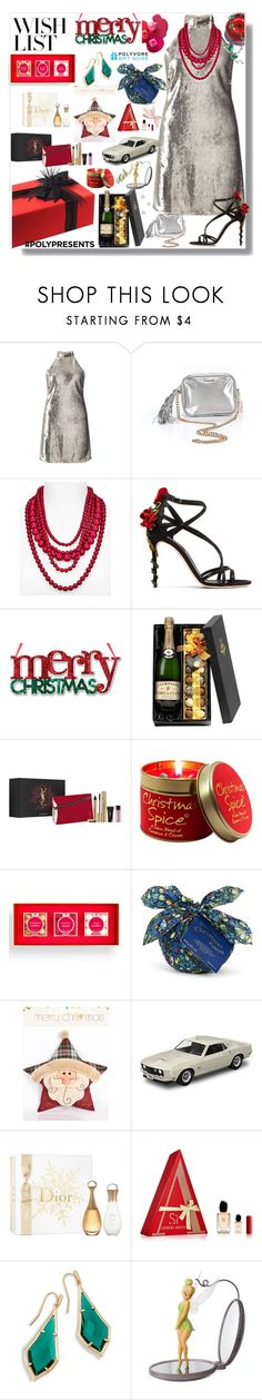 """#PolyPresents: Wish List"" by eldinreham on Polyvore featuring Miss Selfridge, Victoria's Secret, BaubleBar, Dolce&Gabbana, Lily-Flame, sugarfina, Liberty, Hallmark, Christian Dior and Giorgio Armani"
