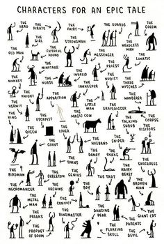 Characters for an Epic Tale - I like the idea of using this as an adjective lesson. Provide an example for kiddos, then have them create their own using adjectival phrases to describe the characters. Don't use this one in the class tho, a few questionable types!