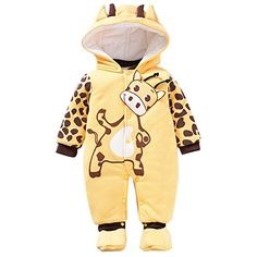 Baby Girls Boys Animal Style Winter Rompers Playsuits Snowsuit 36 Months Yellow * You can find out more details at the link of the image.Note:It is affiliate link to Amazon.