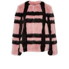 Shrimps Gustav Plaid Faux Fur Coat (3.660 BRL) ❤ liked on Polyvore featuring outerwear, coats, faux fur coats, plaid coat, tartan coat, collarless coat and faux fur lined coat
