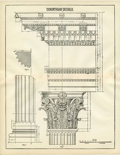 This is a wonderful Architecture Printable Corinthian Columns Image! This is one that I've scanned from an Antique Architecture Book! Architecture Antique, Ancient Greek Architecture, Classic Architecture, Architecture Drawings, Historical Architecture, Architecture Details, Greece Architecture, Retro Poster, Poster Vintage