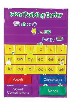 """** Word Building Center Pocket Chart Focus on long and short vowels through word building, decoding and spelling practice. Features 18 yellow vowel pockets and 4 larger sorting/storage pockets. Includes 206 color-coded die-cut cards: 76 pictures (labeled on reverse), 30 vowels (red), 24 vowel combinations (purple), 40 consonants (blue) and 36 blends (green). Activity Guide includes interventions. Grommeted nylon chart measures 28""""L x 43 1/2""""H. Grades 1+"""