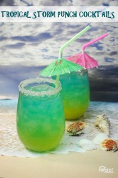 Rum Cocktails, like this Tropical Storm Punch are perfect for summertime! Recipe is intended for those 21+ #rumcocktail ##tropical #summer #refreshing #party #cocktail
