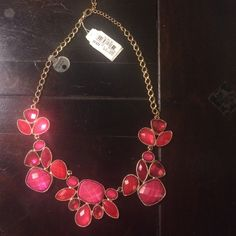 Pink jeweled statement necklace New w/tag Macy's New with tags, pink jeweled statement necklace with an adjustable gold chain. Macy's Jewelry Necklaces