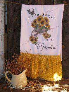 "Flour Sack Kitchen Towel ""Time Began in A Garden"" Wheelbarrow & Sunflowers Fall Farmhouse Style by SweetMagnoliasFarm, 16.00"