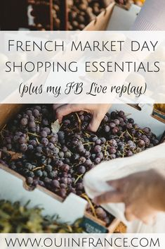Here are my French market day shopping essentials (FB Live replay). Market culture is strong in France so here's a look at the French marche (farmers market) in a town in the Maine-et-Loire department. French Lifestyle, Replay, Parisian Style, Farmers Market, Maine, Healthy Living, Food Porn, France Travel, Essentials