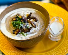 Holy bejeezus, this No-Cream of Mushroom Soup with rosemary and pepper looks OFF THE CHAIN.