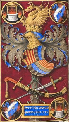 Coat of arms of Frederick III of Aragon -- BNF, Paris, Ms Latin detail of fol. Horae ad usum fratrum praedicatorum (Hours of Frederick of Aragon). Tours, Enluminated by Jean Bourdichon. Dragons, Frederic, Medieval World, Ornaments Design, Knights Templar, Family Crest, Crests, Ancient Artifacts, Illuminated Manuscript