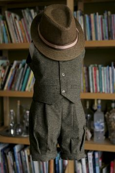 Tweed wool knickers, vest and straw hat ring bearer baptism baby boy suit birthday boy suit christening