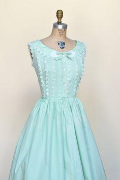 1950s Day Dress Vintage Sleeveless Mint Dress by DalenaVintage