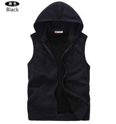 Mens Sleeveless Hoodies Fashion Casual Hooded Sweatshirt Men Hip Hop Hoodie Men's Sportswear High Quality 5 Color Size M-XXL A36-Men's Hoodies & Sweatshirts-Enso Store-Navy-S-Enso Store