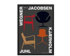 Plakater Kim Lynnerup 4 designer stole  #plakat #poster #KimLynnerup #plakatgalleridk #ArneJacobsen #Wegner #Juhl