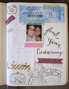 first year anniversary smashbook inspiration- photo+ ticket stub...a few doodles and some washi tape and call it done!
