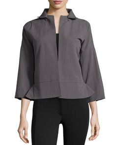 Halston Heritage Bracelet Sleeve Relaxed Jacket, Lead, Women's, Size: 10