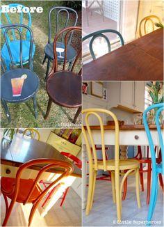 Spray painted flea market chairs.