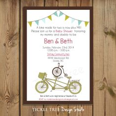 PRINTABLE Baby Shower - A Bike Made for Two is Now + Me - PERSONALIZED (Style 13184)