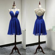 Sparkly Short Royal Blue High Neck Backless Beaded Bridesmaid Dresses ,Short Prom Dresses,Graduation Dresses 2016,Party Dresses,Short Evening Dresses, Short Formal Dress 2016,