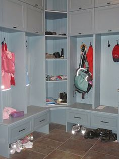 mudroom lockers - I like the corner shelving idea. Maybe with a door...perhaps frosted glass