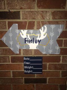 Birth Announcement Door Hanger by SweetHoneyandHudson on Etsy