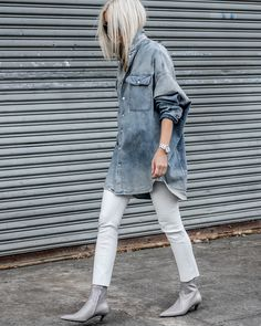 Oversized Denim Shirting & Leather #denim #leather #balenciaga #balenciagaboots #ootd #figtny