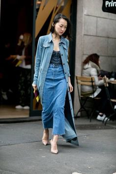 Wearing a full length denim skirt. It's a tricky style to pull off.