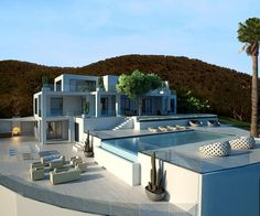 Imagen de http://www.espaciodeco.com/img/ideas/000/014/865/Terrazaconpiscina1_large.jpg. Modern Mansion, Pool Houses, Santorini House, Future House, Building A House, Architecture, House Floor Plans, House Goals, Luxury Homes