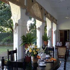 The back, garden veranda at Shumshere, Dehradun