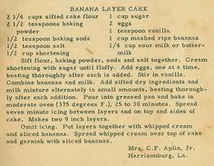 Family Recipe Friday ~ Banana Layer Cake #genealogy #familyhistory